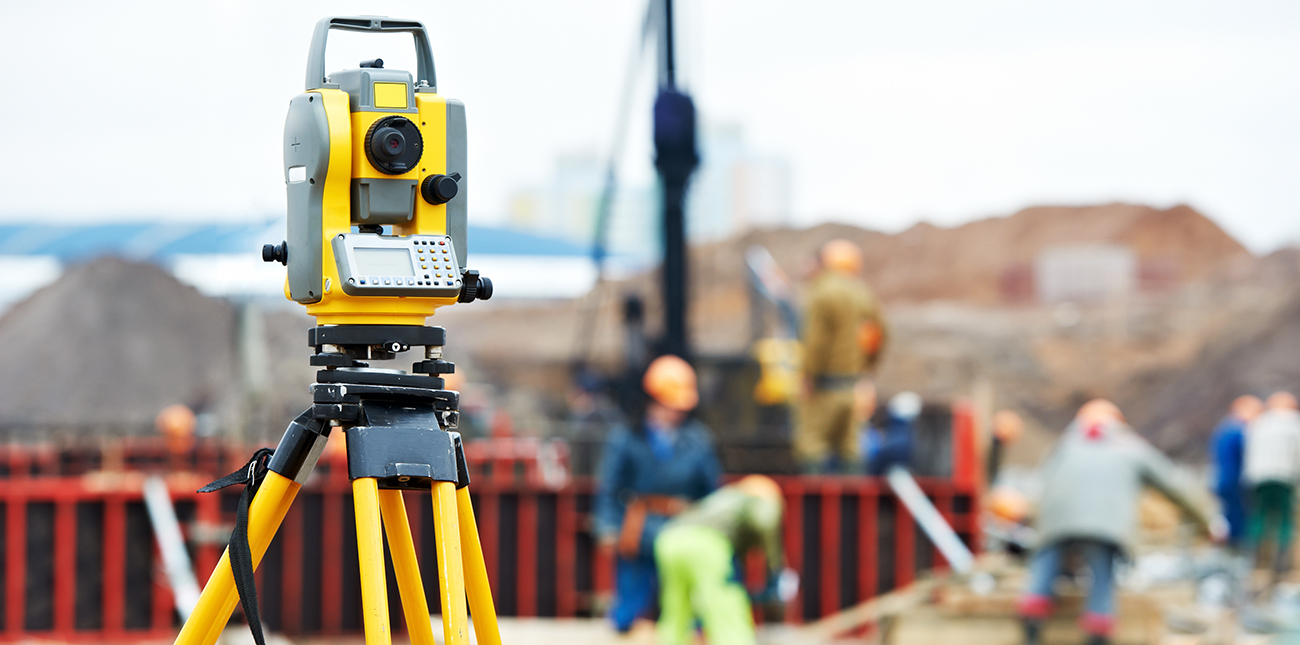 Surveying equipment at a construction site
