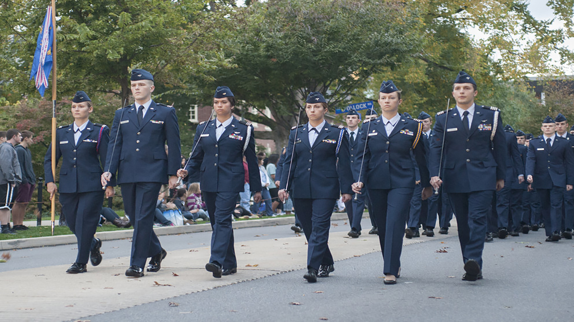 Air Force ROTC cadets marching in parade