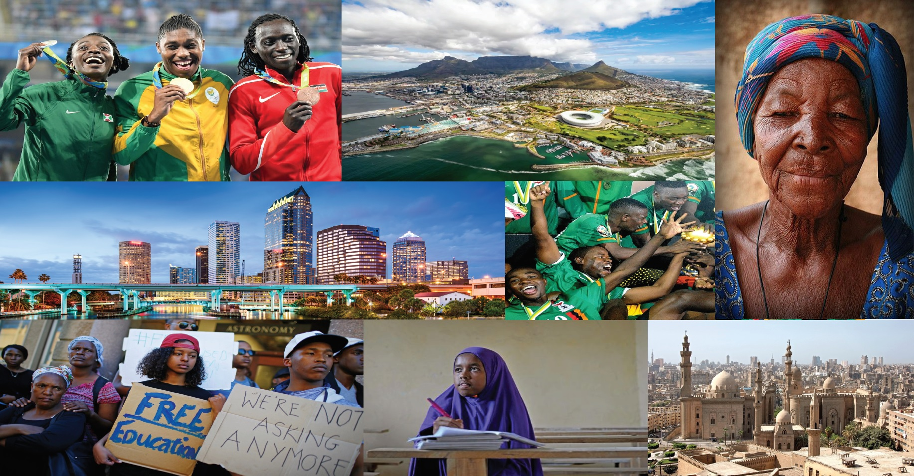 The photos include areas of interest in the social/economic/historical studies of the African Studies Graduate Program, as included in our other promotional materials for the program.