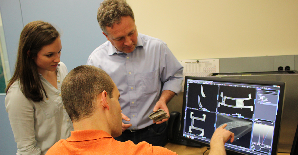 AMD faculty, staff, and student review inspection results of an additive manufactured part