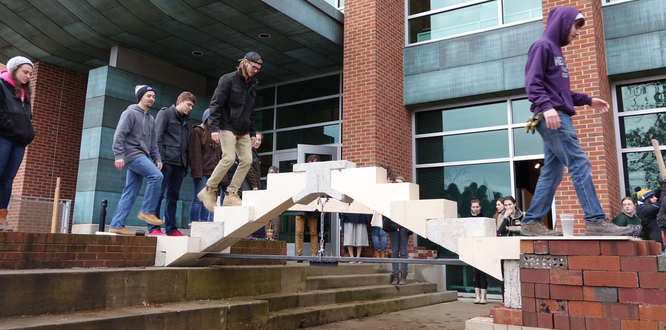 Architecture students outside Stuckeman Family Building