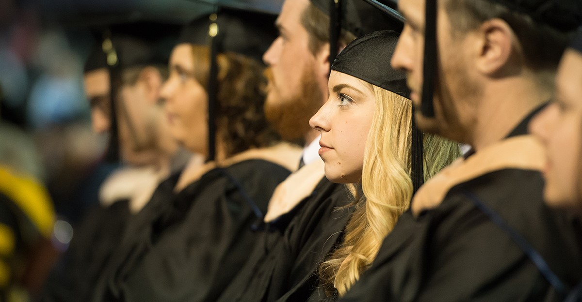 Robed graduates of the Master of Professional Accounting Program sitting during their commencement ceremony