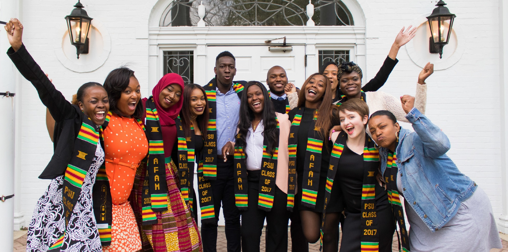 African American Studies majors from the class of 2017 pose for photo