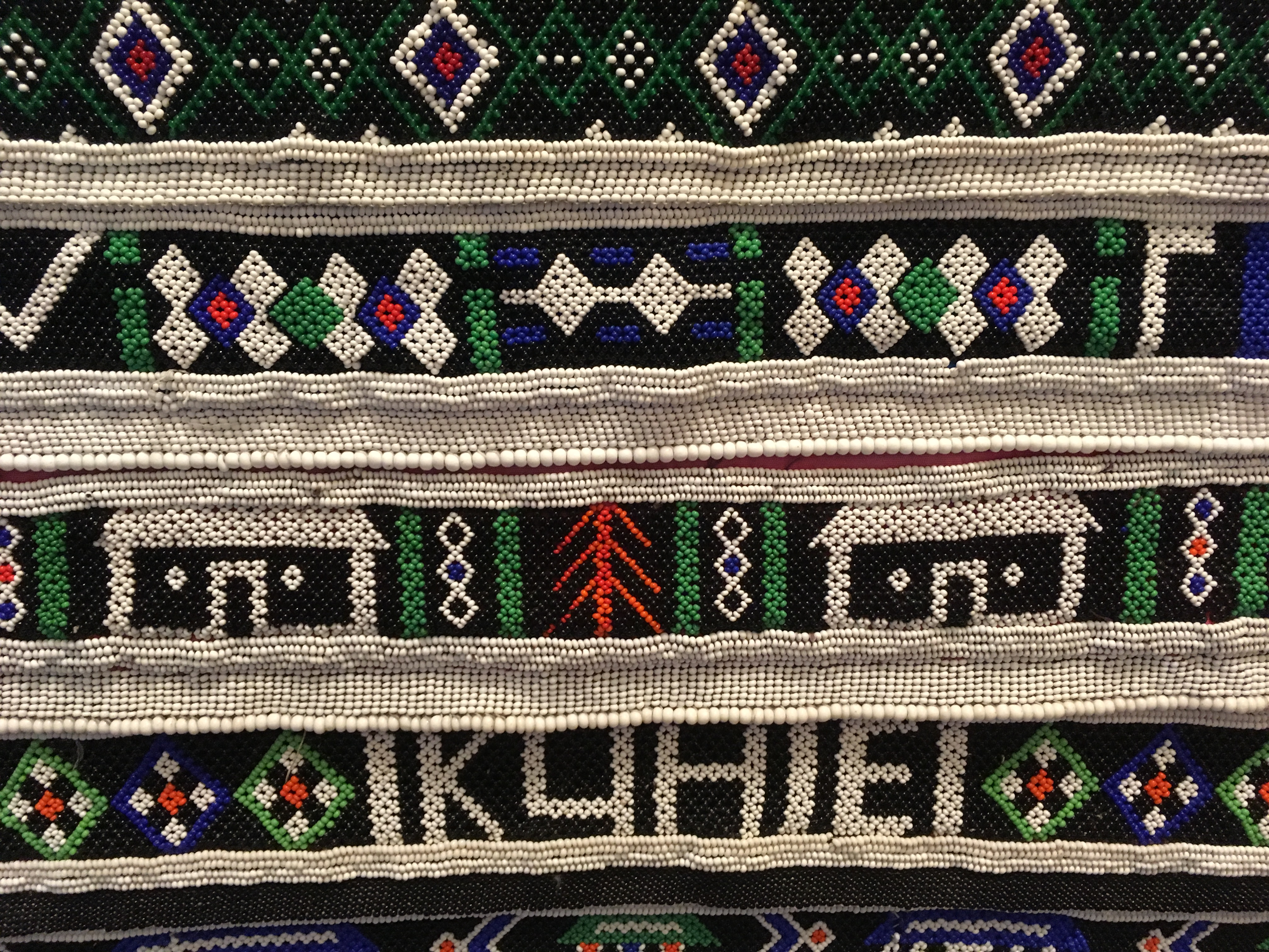 Close up of African beaded art piece