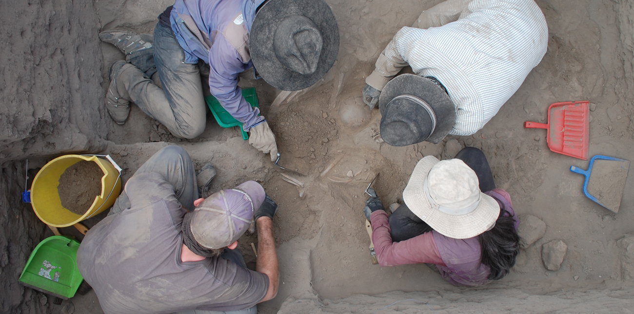 Four students working together during an archaeological dig