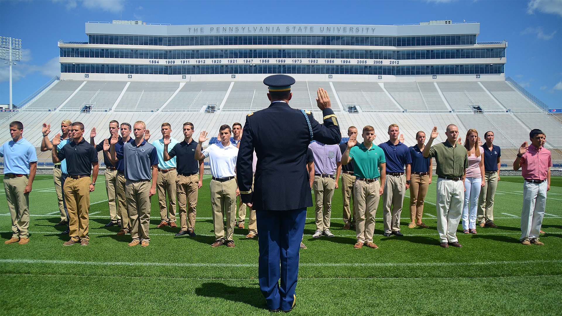 Army ROTC cadets at contracting ceremony in Beaver Stadium
