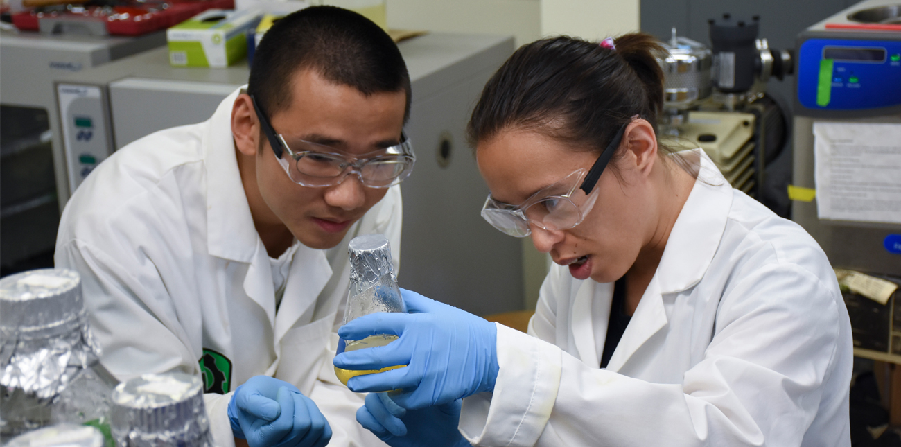 Two students working in the lab