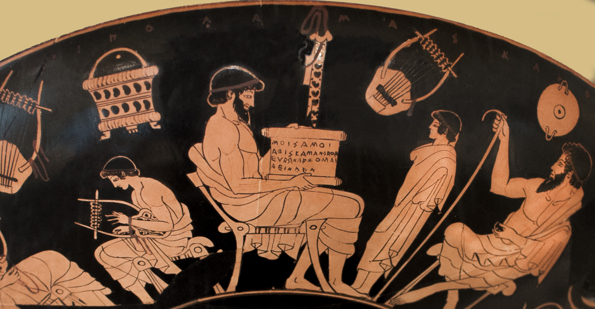 Lesson in poetry, red figure Athenian cup ca. 490 BCE