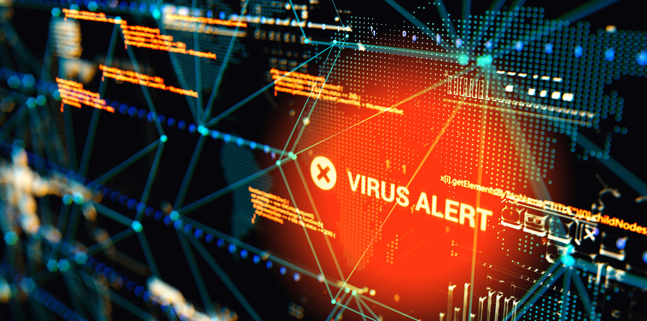 Digital image of a system virus alert message