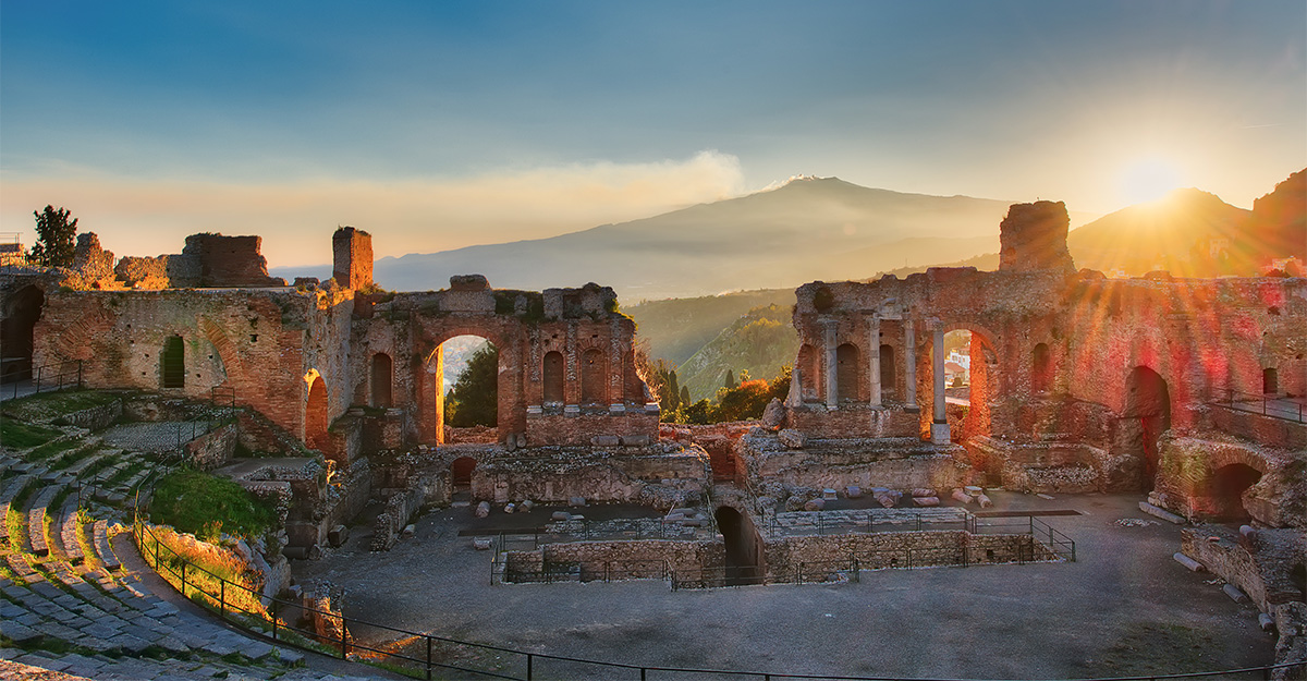 Ancient theatre of Taormina at sunset