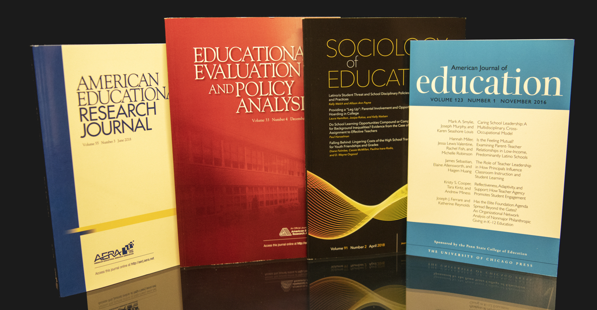 The picture displays four issues of the leading journals in the field: American Educational Research Journal, Educational Evaluation and Policy Analysis, Sociology of Education and American Journal of Education