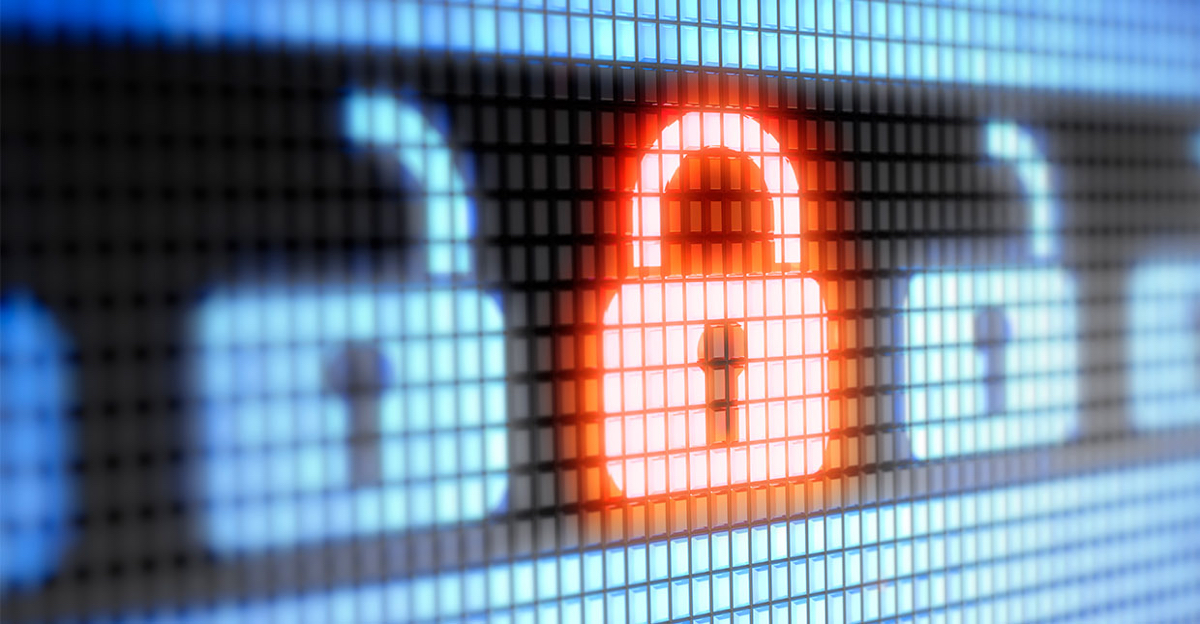 The image of an open lock is contrasted with a closed lock to demonstrate the importance of digital security across the entire business enterprise.