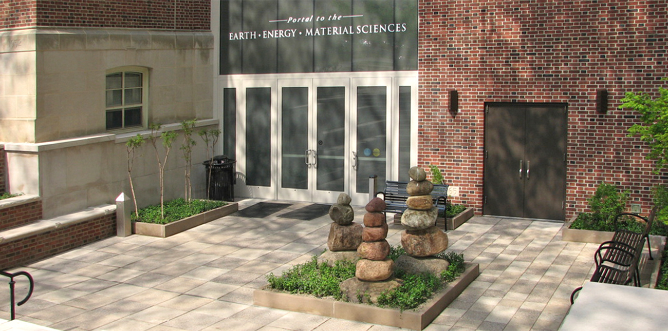 Deike Building with Portal to the Earth Energy Material Sciences displayed above the entrance