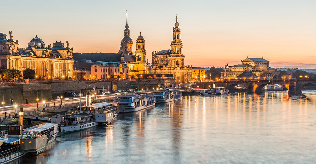 Dresden, Germany waterfront at sunset.