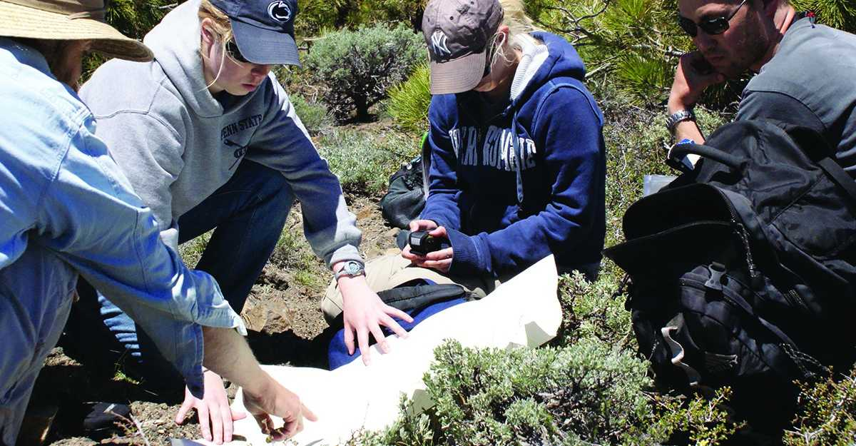 Department of Geography graduate students and their professors conduct fieldwork.