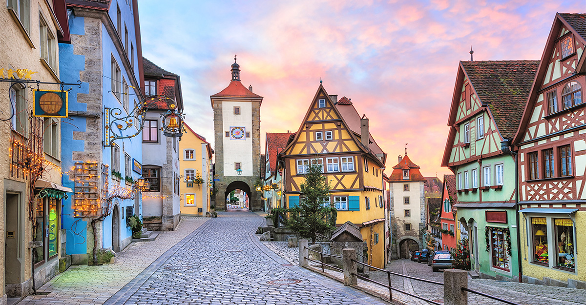 Colorful half timbered houses in Rothenburg ob der Tauber Germany