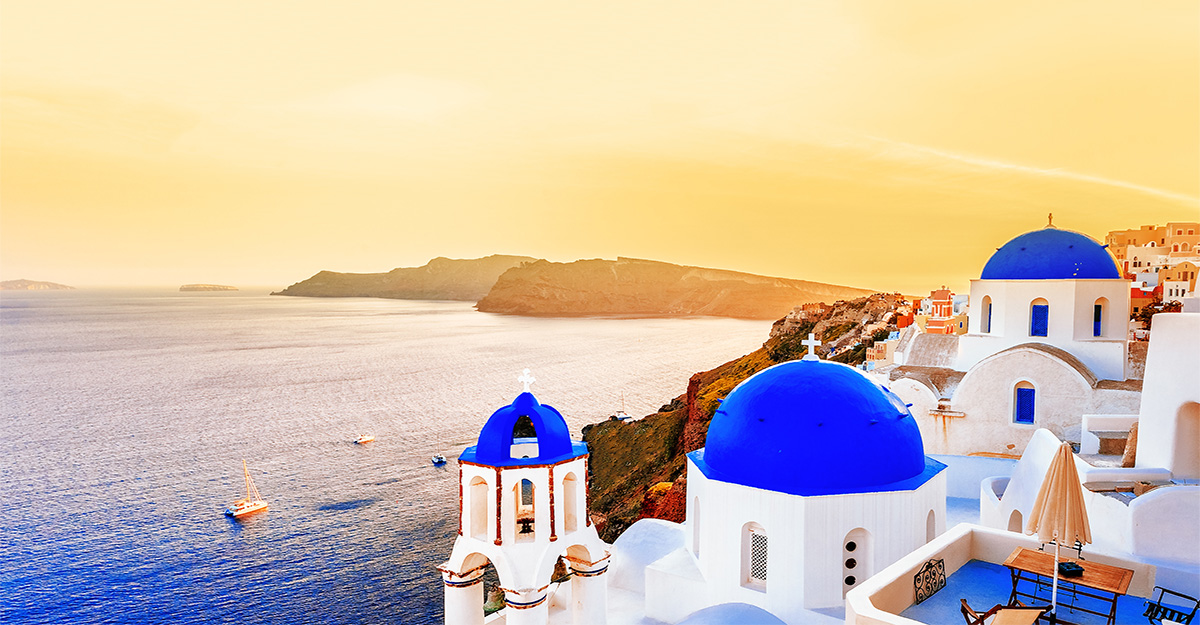 Sunset in Santorini island in Oia village Greece