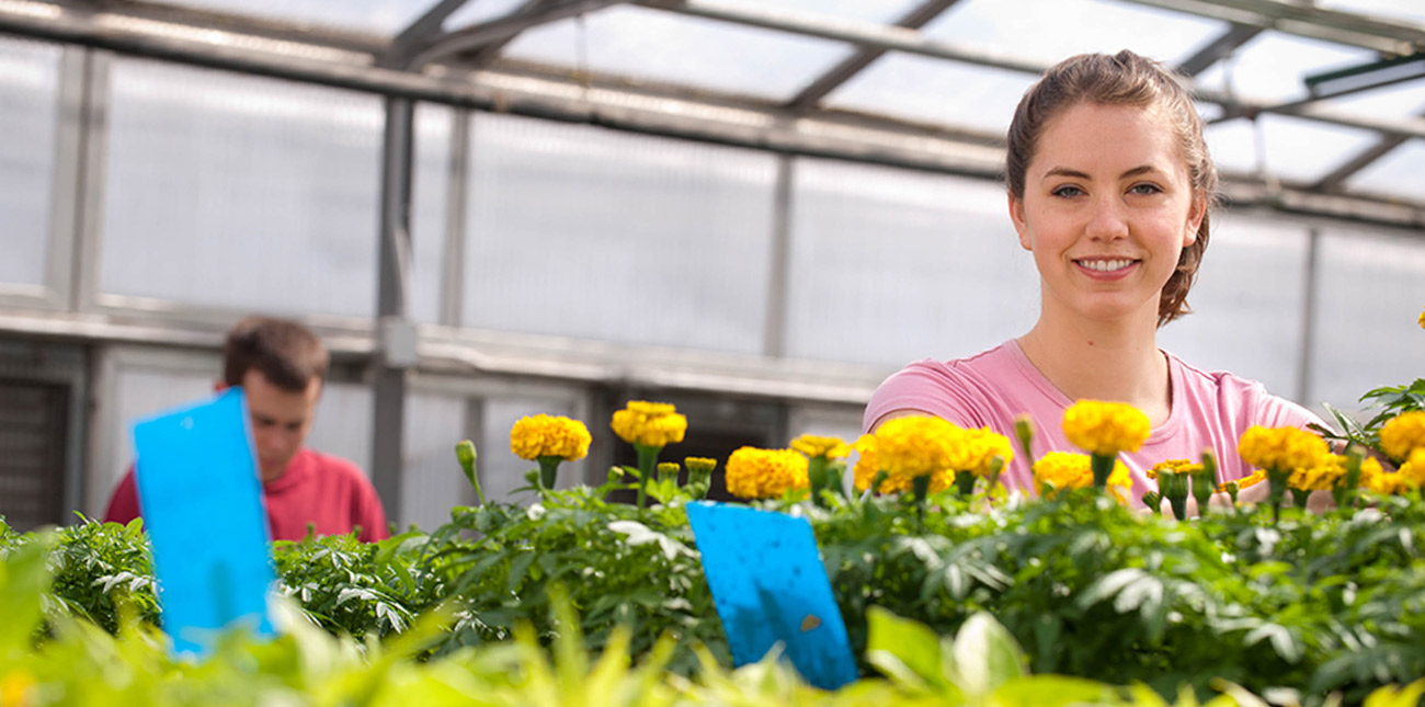 Student in greenhouse with flowers