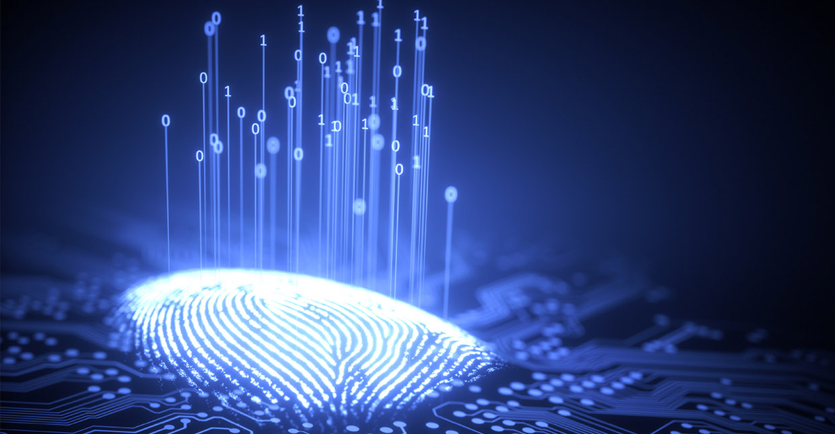 Digital code is assigned and visually displayed on a human fingerprint.