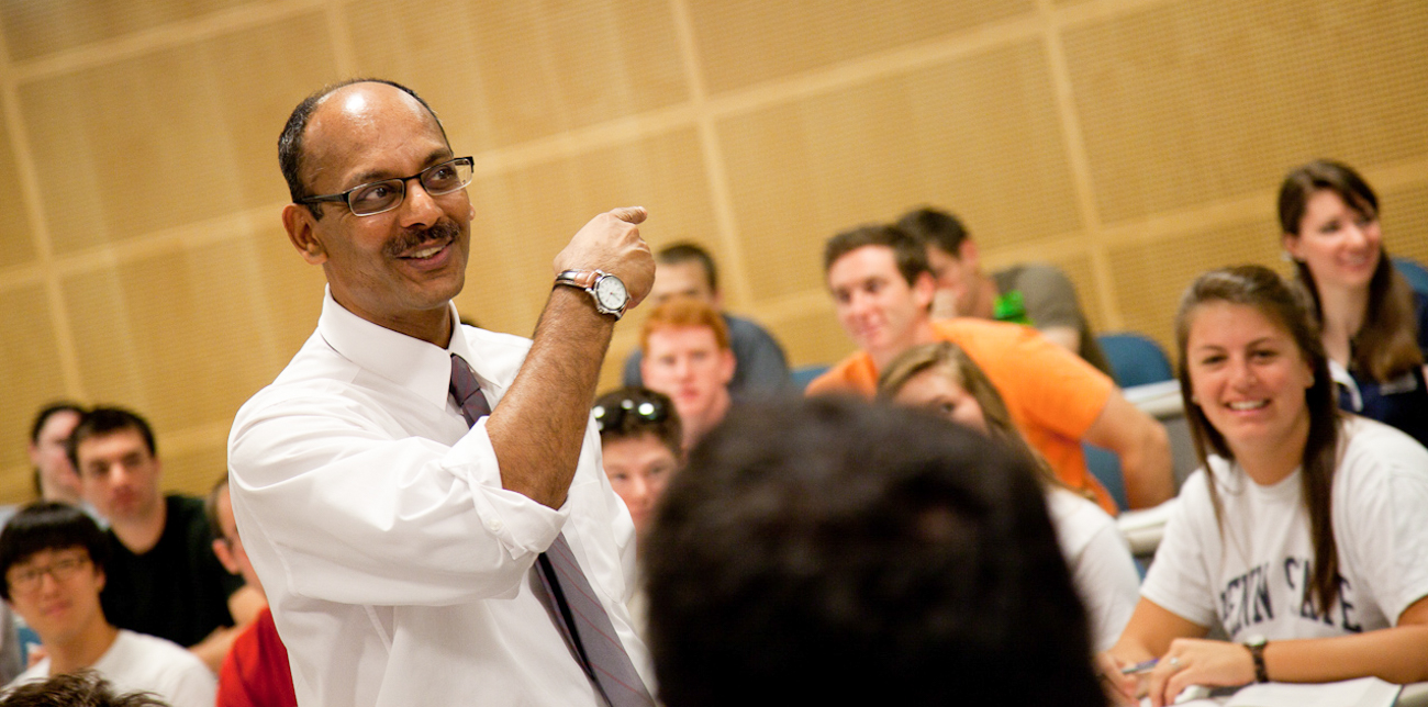 Professor Sajay Samuel addressing students during a class lecture