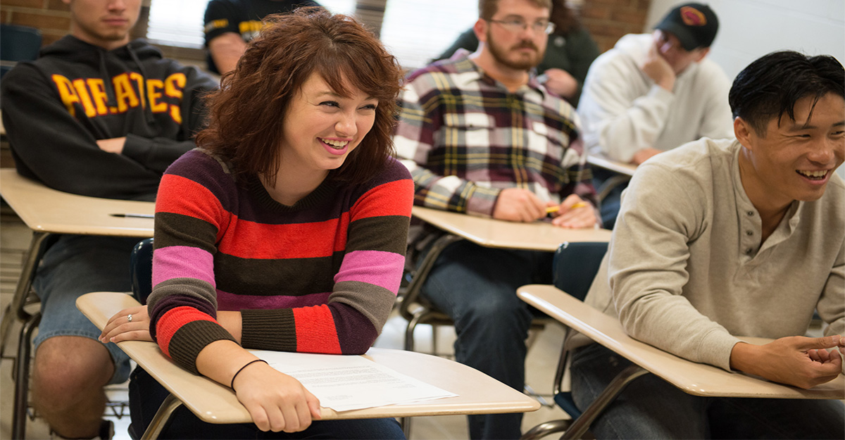 Students smiling in the classroom