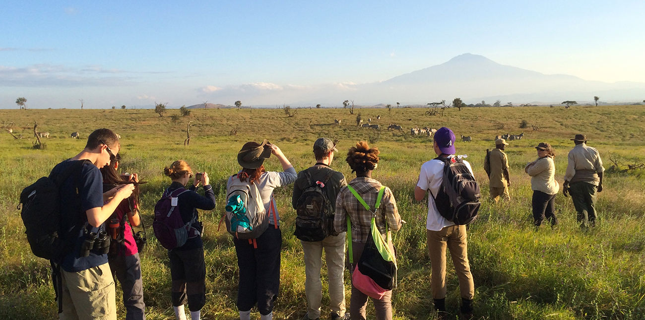 Students observing zebra with Mt. Kilamangaro in the distance in Tanzania Africa
