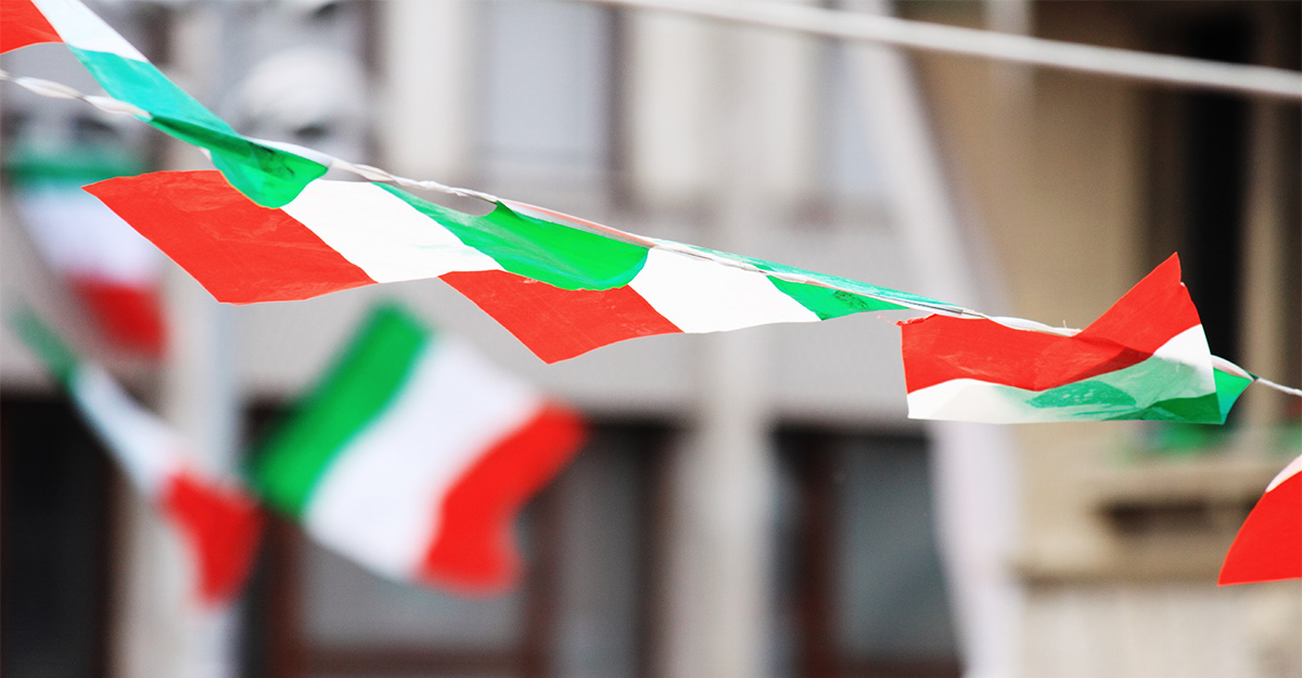 Italian flags blowing in the wind