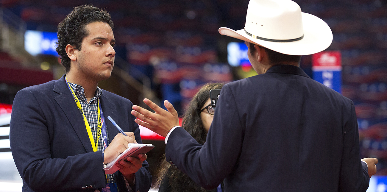 Journalism student conducting interview at Republican Convention
