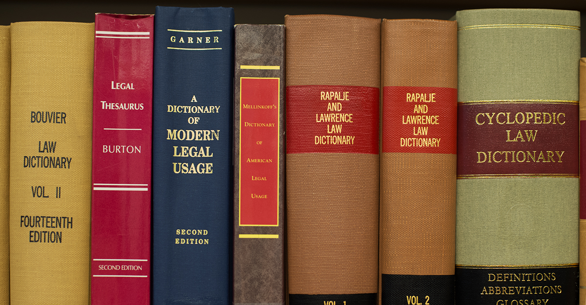 Close up of law dictionaries in the library