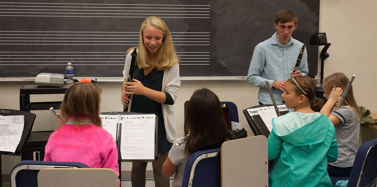 Music Education students working with schoolchildren