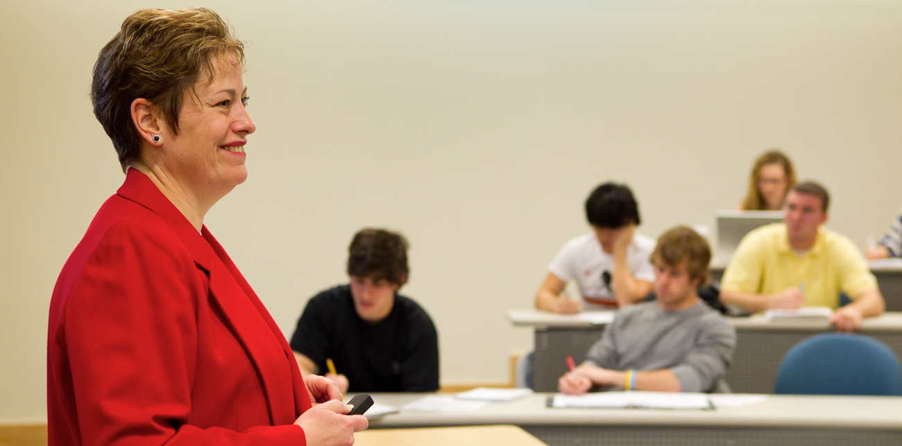 Professor Meg Meloy addressing students during a class lecture