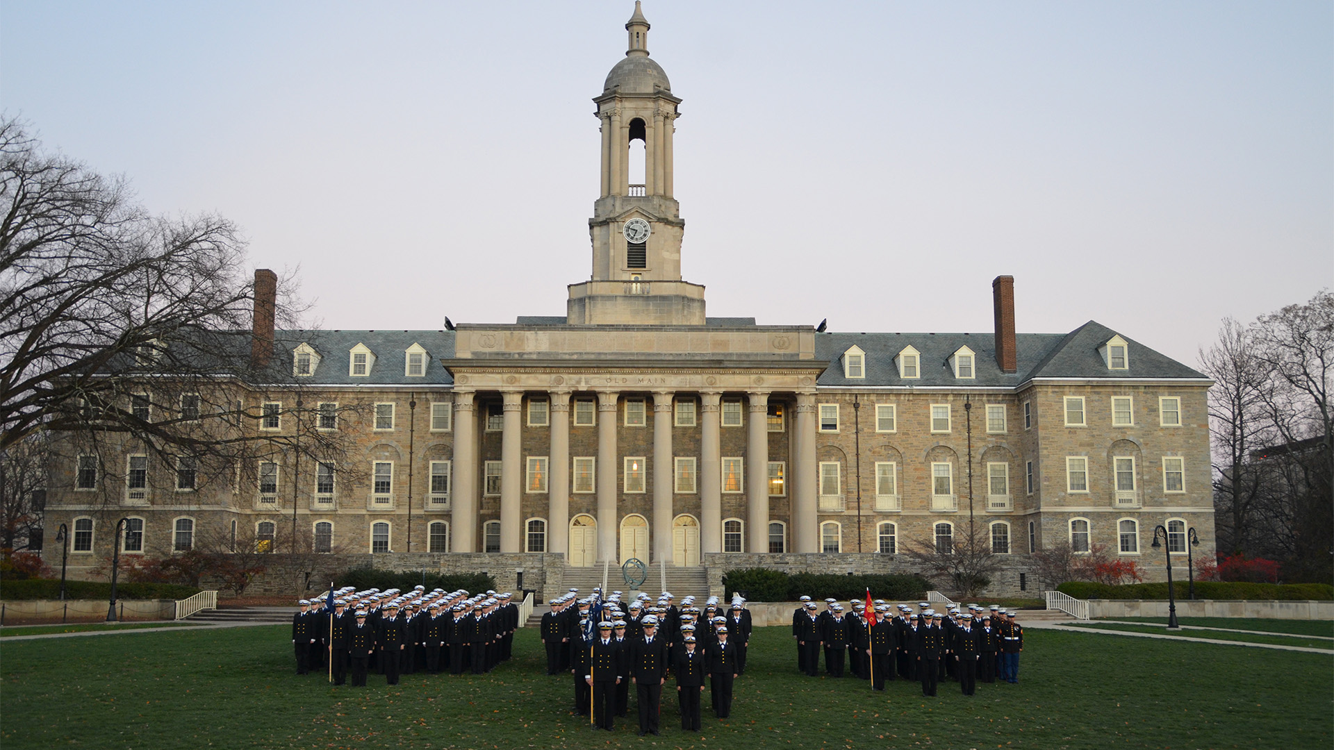 Naval ROTC cadets in formation in front of Old Main