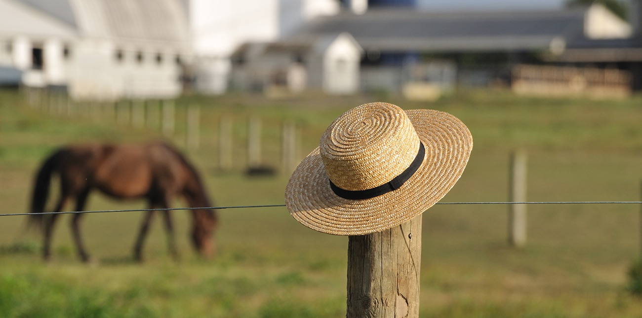 Amish hat resting on fence pole with horse and farm in the background