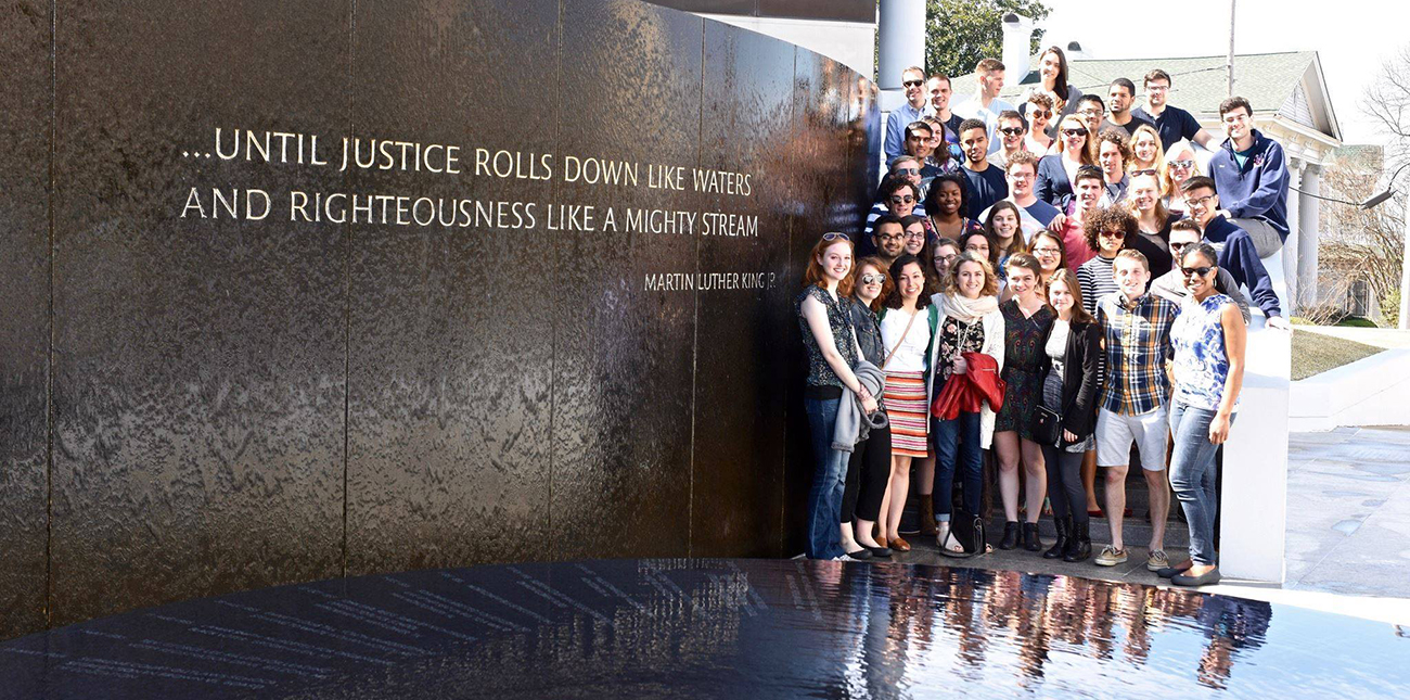 Students visiting Martin Luther King memorial on class trip