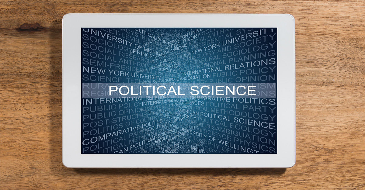 Tablet with political science graphic displayed