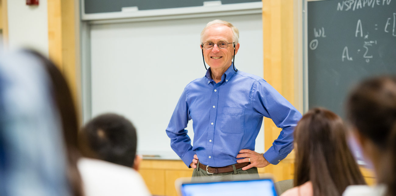 Senior lecturer Ron Gebhardtsbauer addressing students during a class